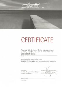 certyfikat Silhouette wojciech sala